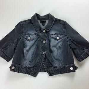 Lane Bryant cropped dark wash denim jean jacket 16